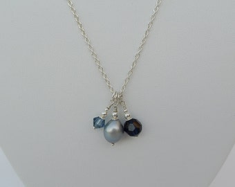 Pearl Drop Silver Pendant Necklace - Silver Grey Freshwater Pearl Drop with Blue Swarovski Crystal Drops on a Sterling Silver Chain