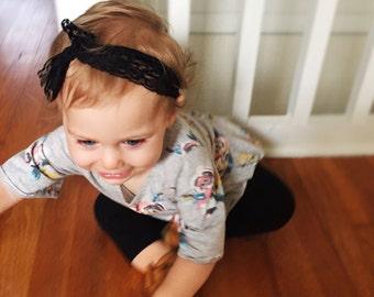 Black Lace Headband, Black Lace turban, black lace headwrap, black ribbon headband, lace headband, newborn lace headband, newborn photo prop
