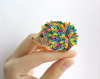 Rainbow Hedgehog brooch - Hedgehog jewelry - polymer clay Hedgehog - Hedgehog accessories - multicolor Hedgehog jewelry - Hedgehog gift