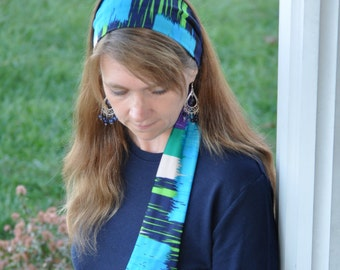 Women's Purple, Blue, Green, White Stretch Hair Wrap, Headband, Headscarf, Hair Tie, Headcovering, Head Covering