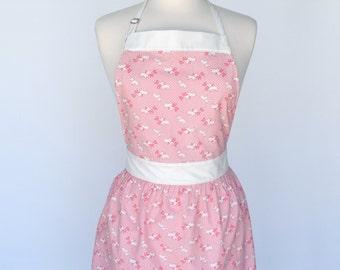 Vintage Apron, Apron For Women, Pink Apron, Handmade Women's Apron, Unique Scottie Dog Apron