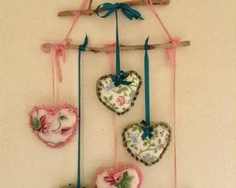 Shabby Heart Mobile, Heart Decor, Wedding Heart, Wedding Decor, Hanging Heart, Window Decor, Shabby Decor, Bridal Shower, Boho Wedding