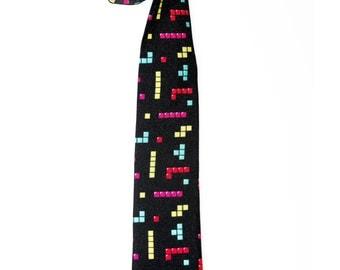 Tetris Tie - Geek Gift - Skinny tie - Men's Necktie - Gamer - Cool