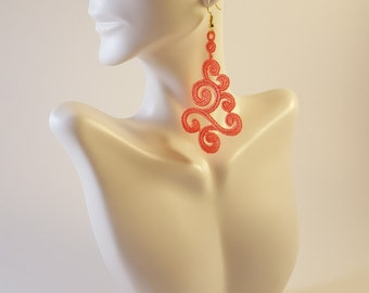 Lace jewelry Coral lace earrings Lace jewelry Statement earrings Womens Fashion Lace earrings Long earrings Drop earrings Dangle earrings