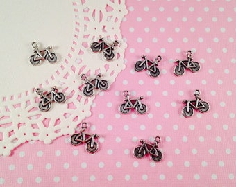 5pc Tibetan Silver Bicycle Charm 16mm Double Sided Jewelry Pendant Craft DIY