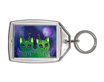 Alien Cats Keychain Space Cats Art Purple Crystals Stars Keychain Keyring Cat Lovers Gifts