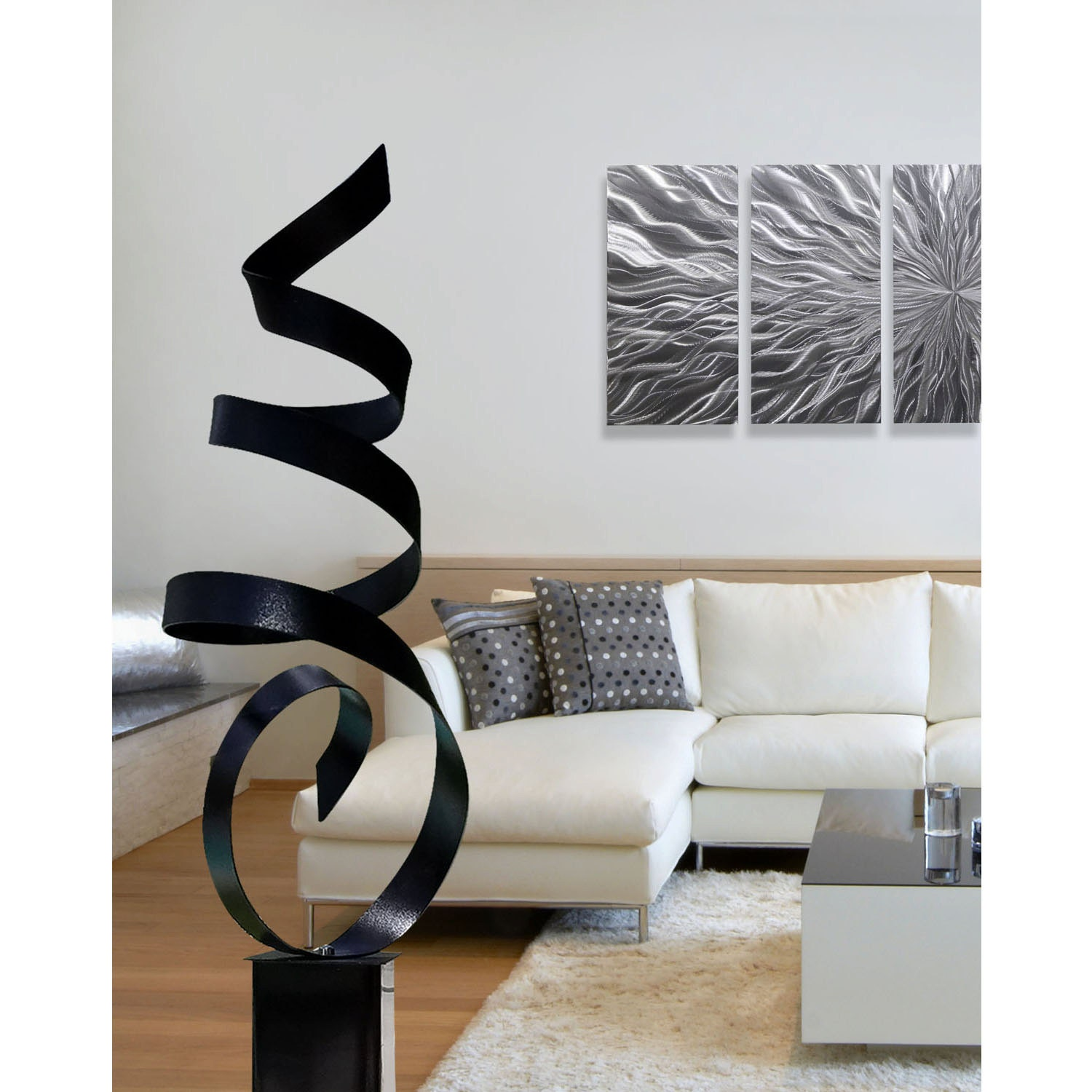Black modern metal sculpture yard art large abstract - Grande statue decoration interieur ...