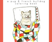 Pug & French Bulldog Adult Coloring Book, Coloring Book for Adults, Dog Lover Gift, Coloring Page, Coloring Book for Kids, Coloring Sheet