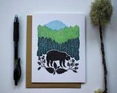 Blank Bear Card | Single Card | Bear Art | Bear and Blackberry | Nature Inspired | Note Card | Blank Card | Gift card for Child | Black Bear