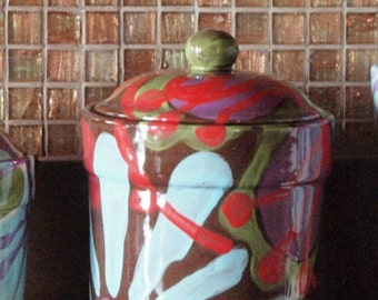 Medium Canister Kitchen Canister Ceramic Canister Boho Kitchen Decor Urban Fusion Canister Pottery Baker Gift Coffee Canister Cookie Jar UF