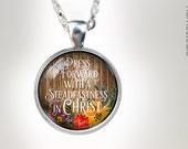 Necklaces : (Wood Floral) Press Forward with a steadfastness in Christ, 2016 mutual theme, new beginnings young women mutual theme 2016