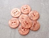 Orange Sewing Buttons - CHOOSE 15mm 5/8 inch OR 18mm 3/4 inch - Vintage NOS Luminescent Pastel Apricot Wacky Square Plastic Buttons PL094 bb
