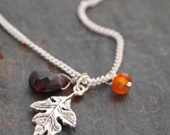Autumn Silver Oak leaf Necklace