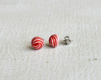 Red and White Swirl Earring Posts- Vintage Titanium Earrings- Contains No Nickle- Great For Sensitive Ears
