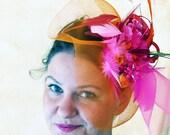 Wedding fascinator orange fuchsia Kentucky derby fascinator hat PINK ORANGE KLUMBA