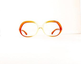 1960's 1970's Eyeglasses Frames // Women's Vintage //Femme Brun Model//Orange & Yellow Translucent Frames // #M139