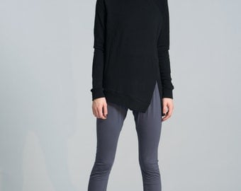 Black Sweatshirt / Winter Blouse/ Asymmetric Sweatshirt / Casual Sweater / Extravagant Tunic / Marcellamoda - MB0379