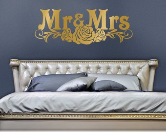 Romantic Bedroom Decor, Bedroom Wall Decal Headboard, Mr and Mrs Wall Decor, Gold Victorian Roses, Removable Metallic Decal (0173a26v-r3c)