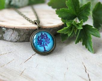 Deep Turquoise - Purple Tree  Necklace, Antique Bronze  Pendant, Glass Cabochon Pendant With Chain
