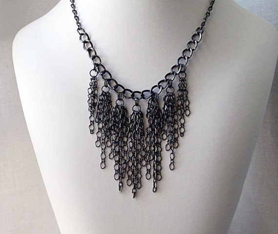 Chain Bib Necklace Set, Bib style necklace, Statement jewelry, Chain Earrings, Boho Chic style, Goth Jewelry