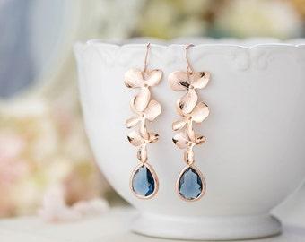 Rose Gold Earrings, Navy Blue Wedding Bridal Earrings, Bridesmaid Earrings, Orchid Flower Sapphire Blue Long Dangle Earrings, Gift for women