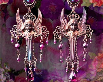 Genuine Garnet Gemstone Gothic Victorian Guardian Angel Earrings, Medieval Cross Chandelier Earring, Silver, Verdigris or Bronze, Pretty!