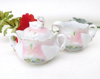 Vintage Sugar and Creamer Set | White Swans | Cream Pitcher Sugar Bowl | Porcelain Swans | High Tea