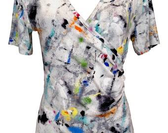 Cotton Wrap Shirt, Plus Size Shirt, Summer Shirt, Short Sleeves Shirt, White Shirt, Graffiti ,V Neck, Designers Shirt