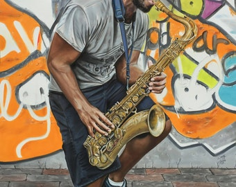 "Sax in the City  ~20x15"" Limited Edition #009 of 500 - Giclee print Reproduction of Original PanPaste & Colored Pencil Art by Wendy Layne"