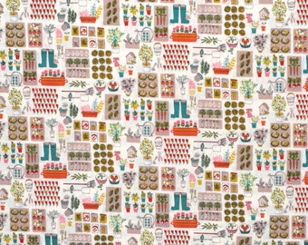 Japanese cotton shirting fabric with garden design - 1/2 YD