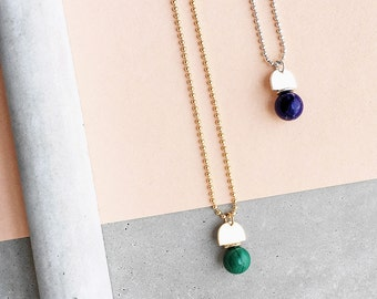 Gem Ball Arch Pendant / sterling silver ball chain / lapis lazuli
