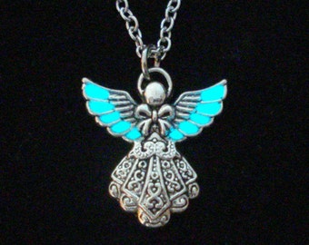 Angel Necklace, Glow In The Dark Pendant, Glowing Angel Jewelry, Glow Necklace, Antique Silver (glows aqua blue)