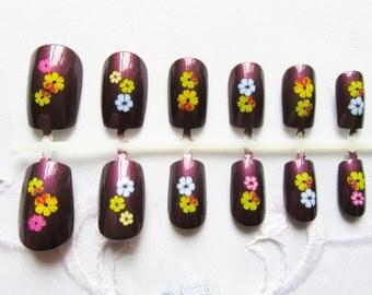 24 'Plum Floral' Fake Nails / False Nails / Press on Nails / Acrylic Nails / Flower / Nails