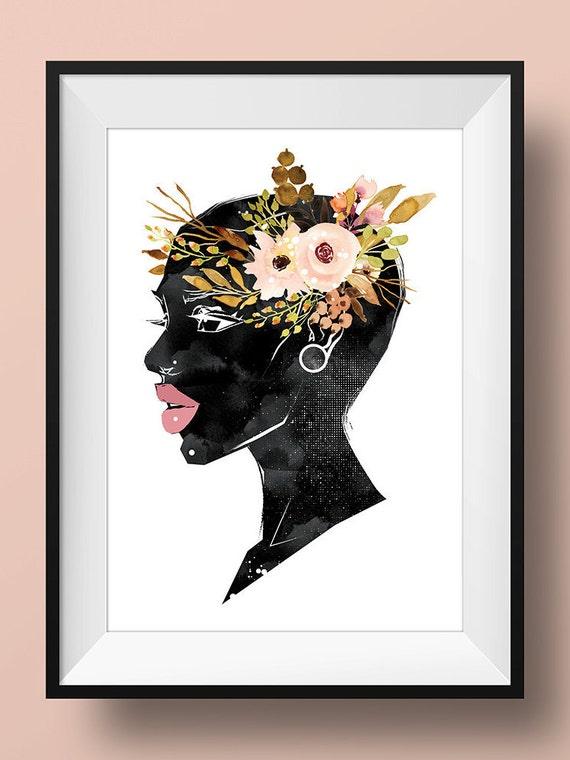 Black Women Wall Art Print Poster Woman Afro By Jadeandserif