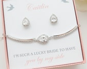 Bridesmaid Jewelry Set, Personalized Bridesmaid Gifts, Bridesmaid Earrings and Bracelet Set, Crystal Teardrop Studs, Mother of Bride Gift