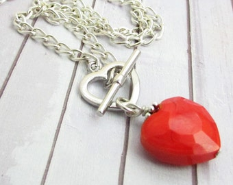Heart Necklace, Valentine Necklace, Red Heart Necklace, Front Clasp Necklace, Heart Jewelry, Gift for Her