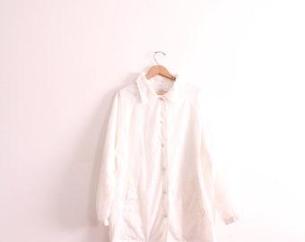 Minimal White 90s Windbreaker Jacket