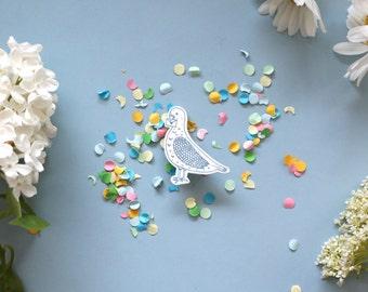 Blue Pigeon Post Illustration Brooch made of Shrink Plastic