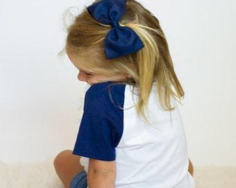 Big Hair Bow Clips, Uniform Hair Bow, Big Bow Clips, Blue Bow Hair Clip, Large Blue Hair Bow, Large Blue Bow, Navy Blue Hair Bow, School Bow
