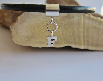 Initial Letter F Charm European-Style and Leather or Sterling Silver Bracelet