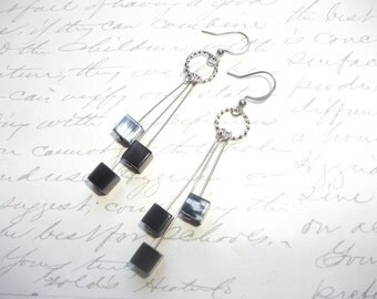 Black cube earrings