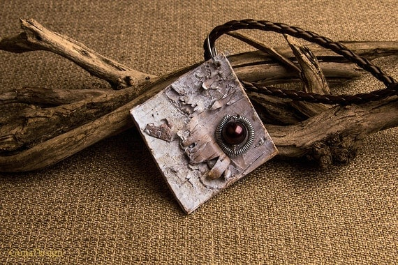 Necklace with White Washed Birch Bark and Coiled Wire Bead Pendant