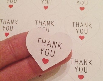 54 Thank You Heart Stickers Sheet Purchase Labels Package UK United Kingdom AC27