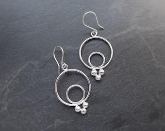 Boho Hoop Earrings, Sterling Silver Granulation Detail Fancy Small Medium Hoops, Chandelier Drop Summer Statement Earrings