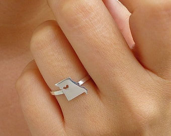 Sterling Silver Missouri Ring / Custom Heart / Missouri State Ring / Love Missouri / Missouri Map Ring / Missouri Heart