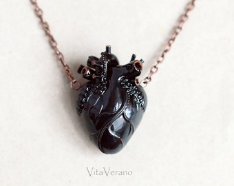 Anatomical heart necklace Black Heart Pendant Necklace Anatomical Heart Anatomy Jewelry valentines day gift