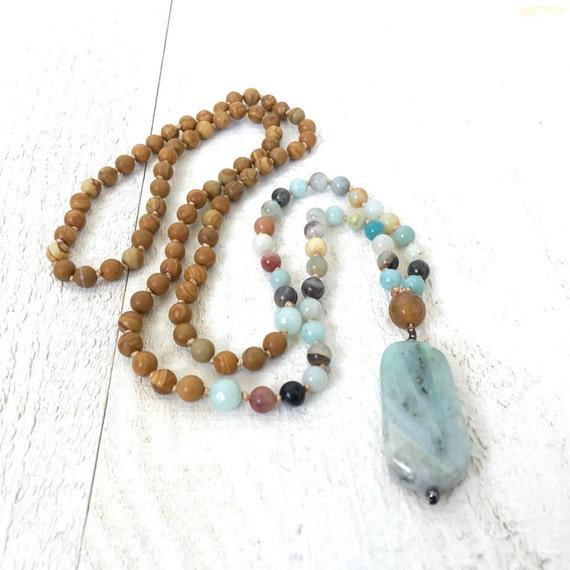 Jasper and Amazonite Mala Beads, Amazonite Pendant Mala Beads, Natural Stone Mala Necklacee, Yoga Mala Beads, Beaded Mala Necklace,