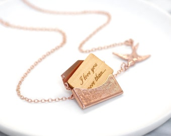Rose Gold Locket Necklace, Gift For Her, Wedding Jewellery, Bridesmaid Gift, Best Mum, Personalised Rose Gold Mini Love Letter Necklace