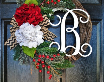 BEST SELLING! Christmas Grapevine Wreath with Burlap. Christmas Wreath. Holiday Wreath. Winter Wreath. Door Wreath. Monogram Wreath. Wreath.