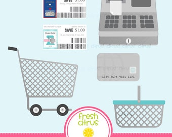 Grocery  Store Clip Art Shopping Cart Cash Register